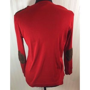 Ralph Lauren Red Long Sleeve w Brown Elbow Patches